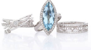 white gold set with diamonds and aquamarine Perth