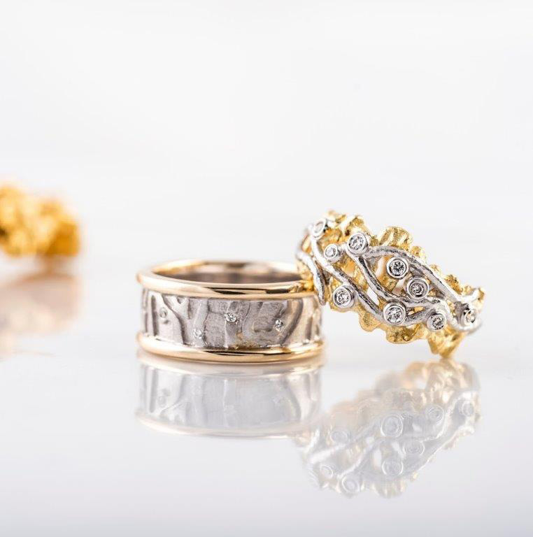 Dress Rings - Erosion! - 18 ct Yellow and White gold rings set with round diamonds $1500.00 & $2800.00